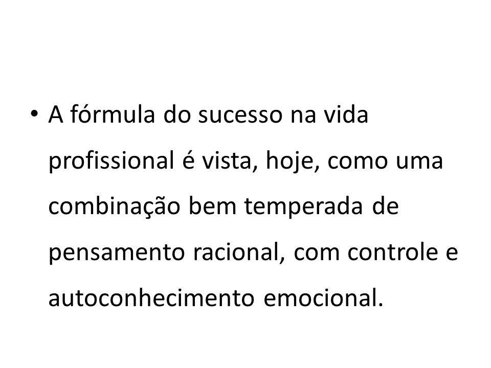 A fórmula do sucesso na vida profissional é vista, hoje, como uma combinação bem temperada de pensamento racional, com controle e autoconhecimento emocional.