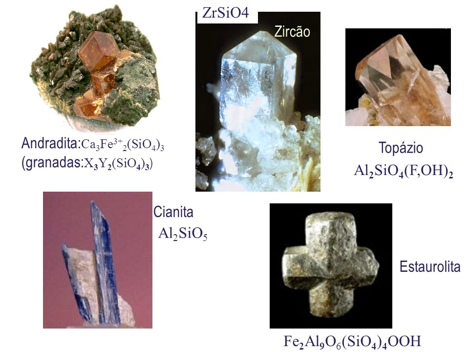 ZrSiO4 Zircão. Topázio. Andradita:Ca3Fe3+2(SiO4)3. (granadas:X3Y2(SiO4)3) Al2SiO4(F,OH)2. Cianita.
