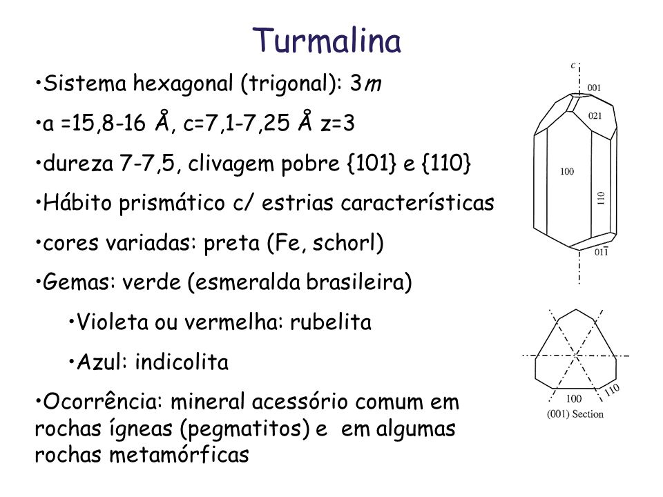 Turmalina Sistema hexagonal (trigonal): 3m