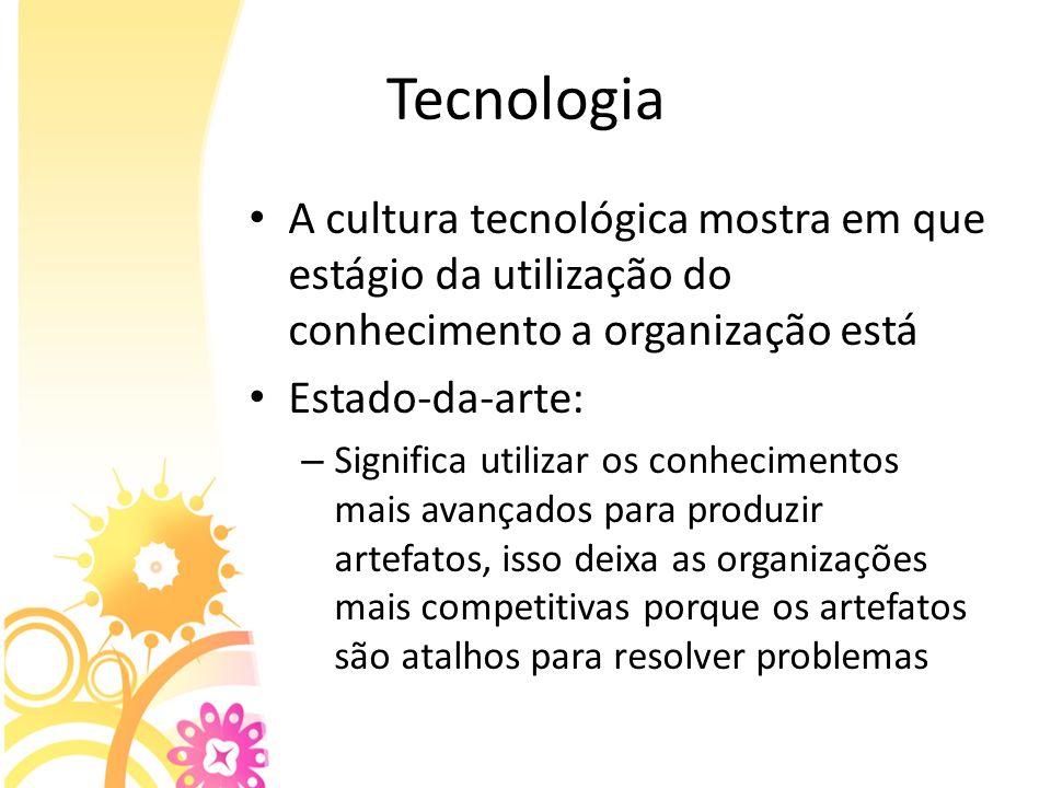 TecnologiaA cultura tecnológica mostra em que estágio da utilização do conhecimento a organização está.