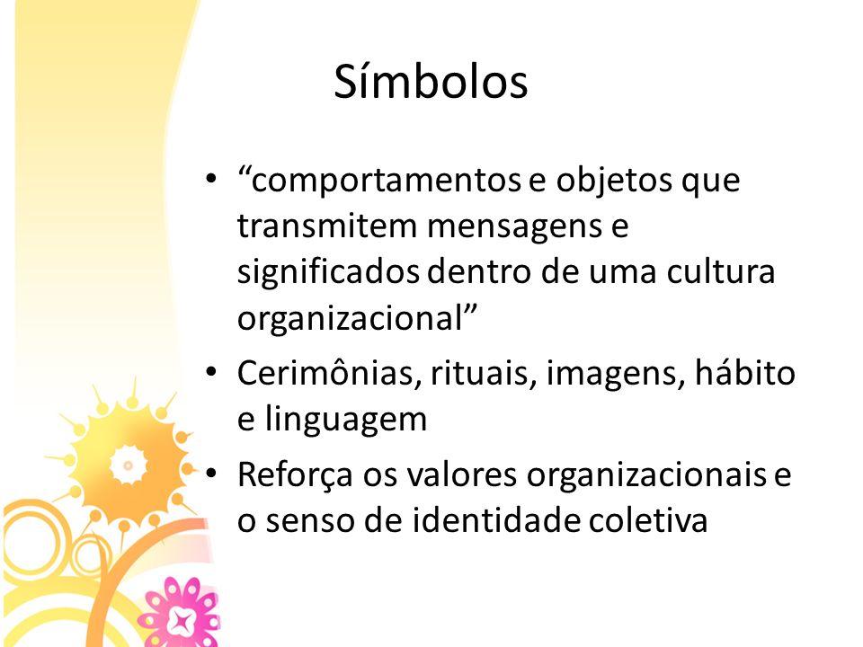 Símbolos comportamentos e objetos que transmitem mensagens e significados dentro de uma cultura organizacional