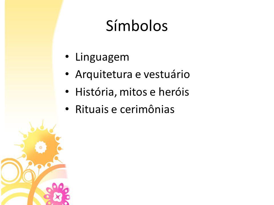 Símbolos Linguagem Arquitetura e vestuário História, mitos e heróis