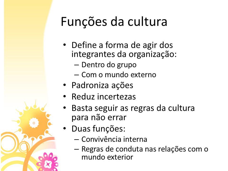 Funções da cultura Define a forma de agir dos integrantes da organização: Dentro do grupo. Com o mundo externo.