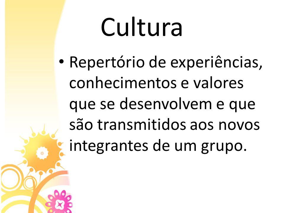 CulturaRepertório de experiências, conhecimentos e valores que se desenvolvem e que são transmitidos aos novos integrantes de um grupo.