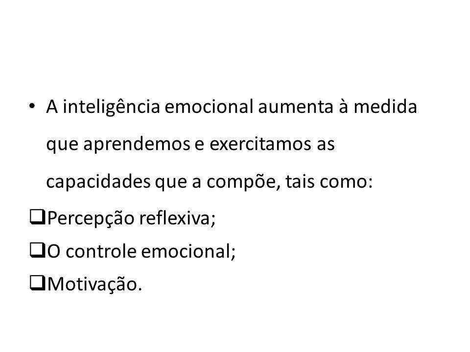 A inteligência emocional aumenta à medida que aprendemos e exercitamos as capacidades que a compõe, tais como:
