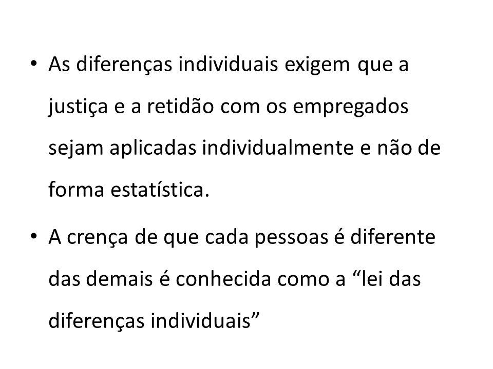 As diferenças individuais exigem que a justiça e a retidão com os empregados sejam aplicadas individualmente e não de forma estatística.
