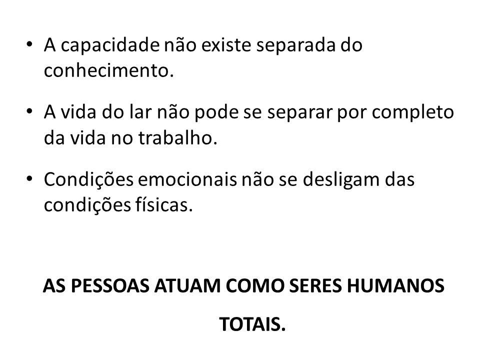 AS PESSOAS ATUAM COMO SERES HUMANOS TOTAIS.