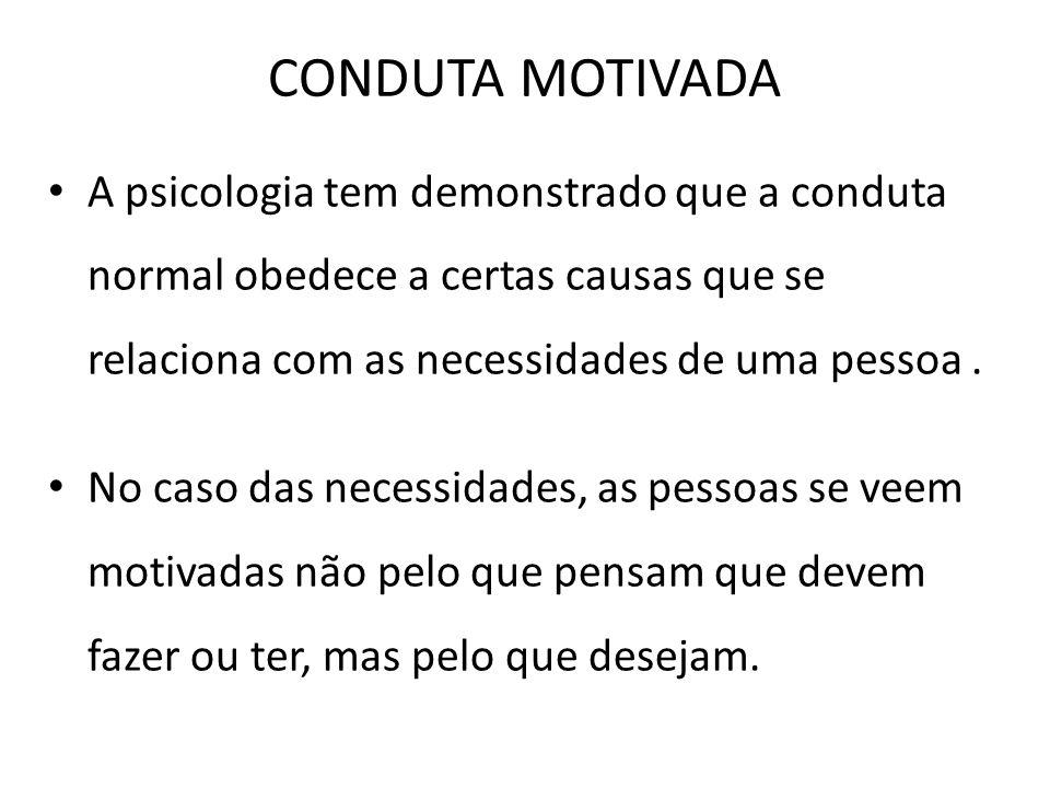 CONDUTA MOTIVADA A psicologia tem demonstrado que a conduta normal obedece a certas causas que se relaciona com as necessidades de uma pessoa .