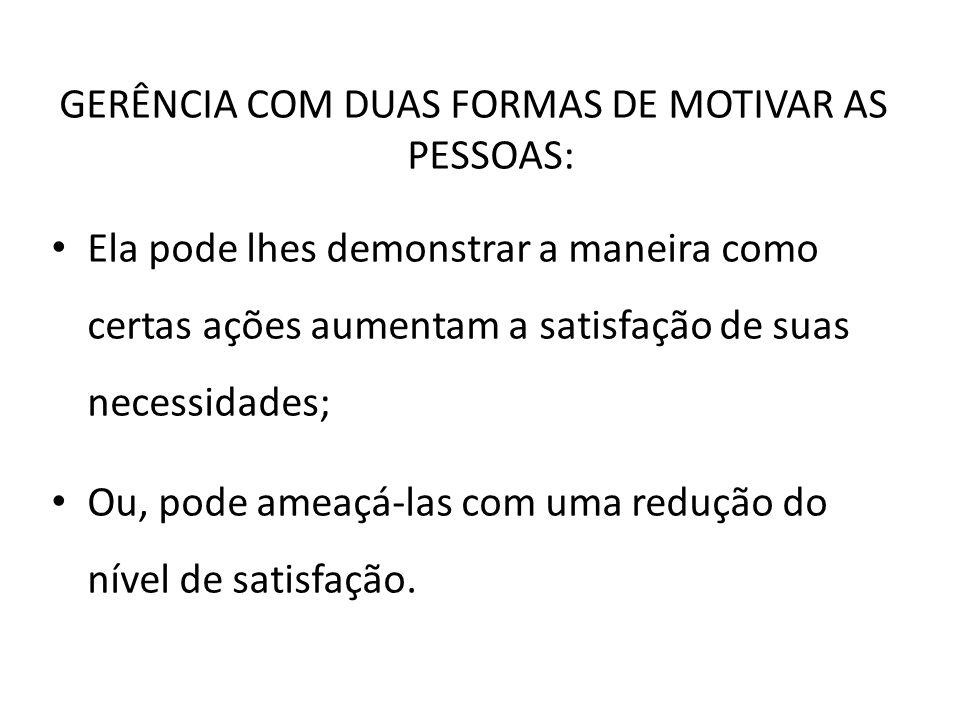GERÊNCIA COM DUAS FORMAS DE MOTIVAR AS PESSOAS: