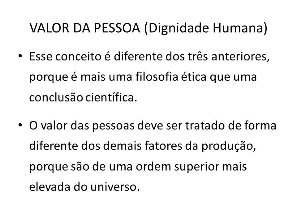 VALOR DA PESSOA (Dignidade Humana)