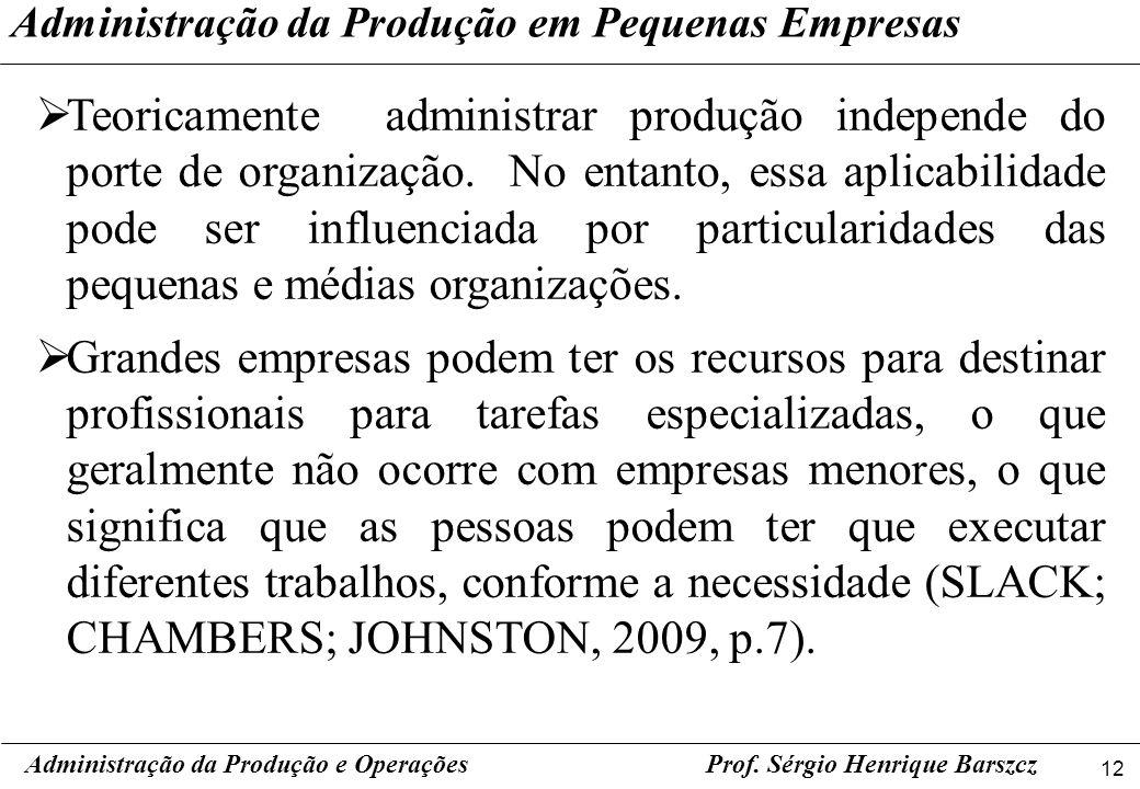 Administração da Produção em Pequenas Empresas