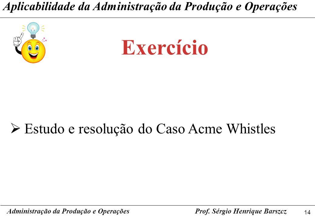 Exercício Estudo e resolução do Caso Acme Whistles