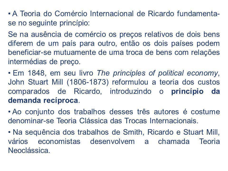 A Teoria do Comércio Internacional de Ricardo fundamenta-se no seguinte princípio: