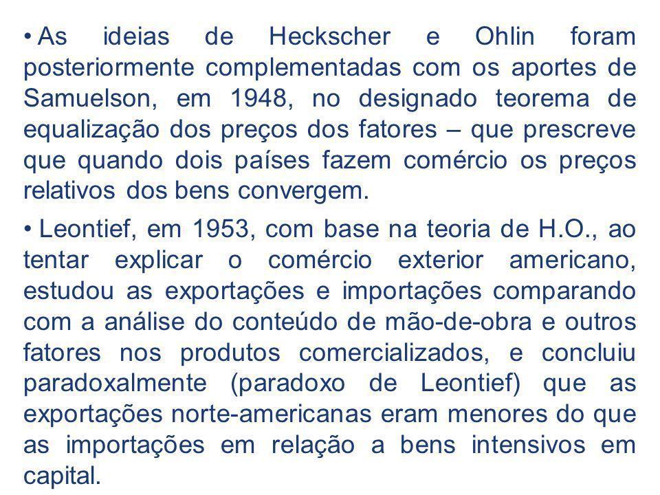 As ideias de Heckscher e Ohlin foram posteriormente complementadas com os aportes de Samuelson, em 1948, no designado teorema de equalização dos preços dos fatores – que prescreve que quando dois países fazem comércio os preços relativos dos bens convergem.