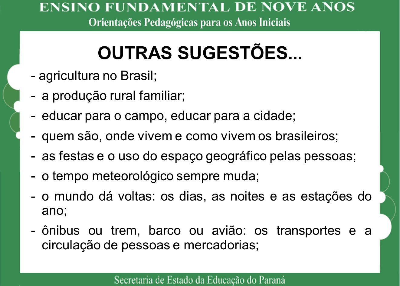 OUTRAS SUGESTÕES... - agricultura no Brasil;