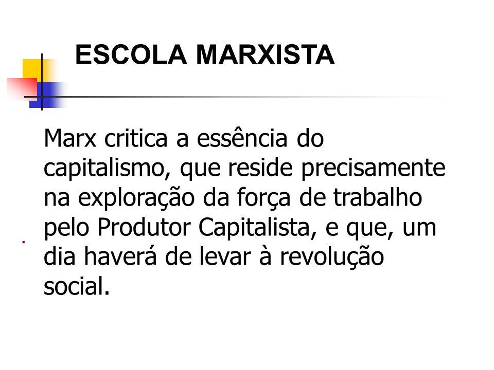 ESCOLA MARXISTA Marx critica a essência do capitalismo, que reside precisamente.