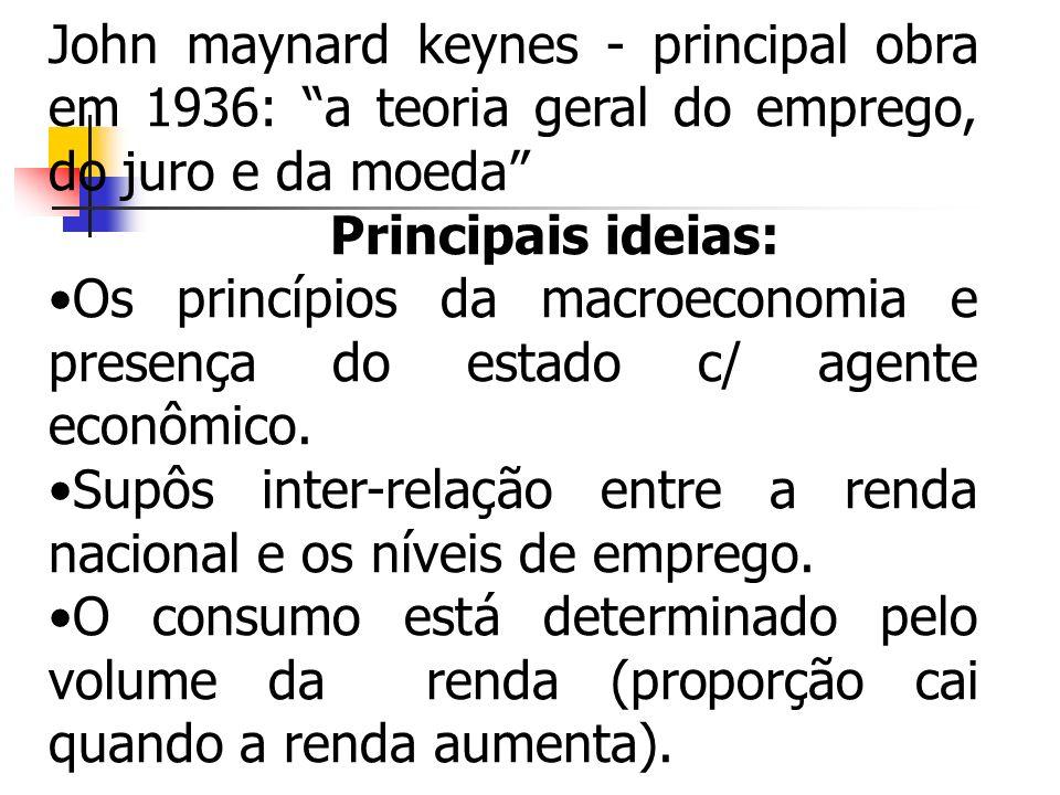 John maynard keynes - principal obra em 1936: a teoria geral do emprego, do juro e da moeda