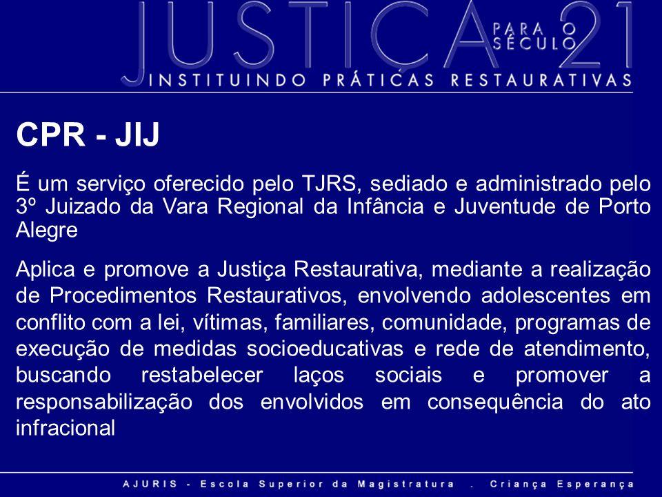 CPR - JIJ É um serviço oferecido pelo TJRS, sediado e administrado pelo 3º Juizado da Vara Regional da Infância e Juventude de Porto Alegre.