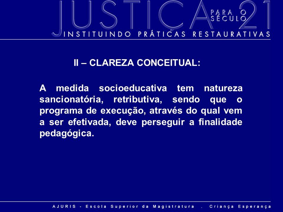II – CLAREZA CONCEITUAL:
