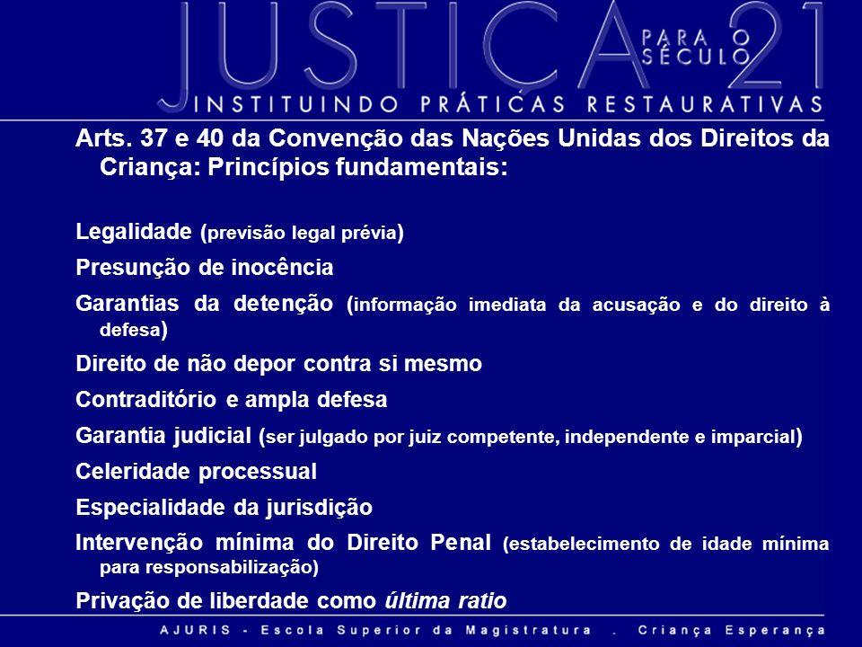 Arts. 37 e 40 da Convenção das Nações Unidas dos Direitos da Criança: Princípios fundamentais: