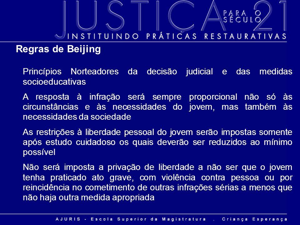 Regras de Beijing Princípios Norteadores da decisão judicial e das medidas socioeducativas.