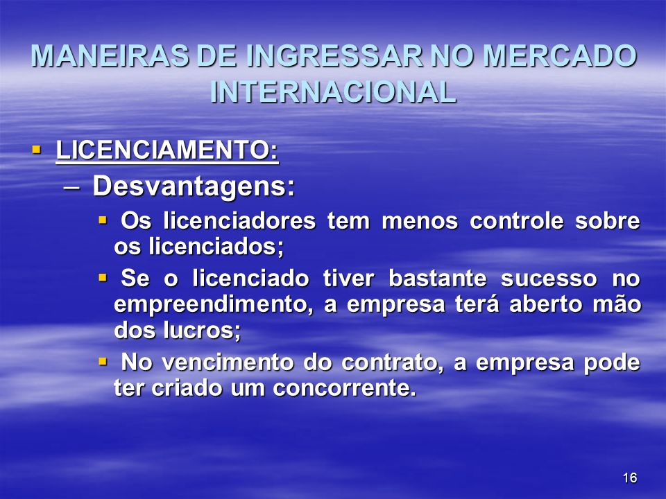 MANEIRAS DE INGRESSAR NO MERCADO INTERNACIONAL