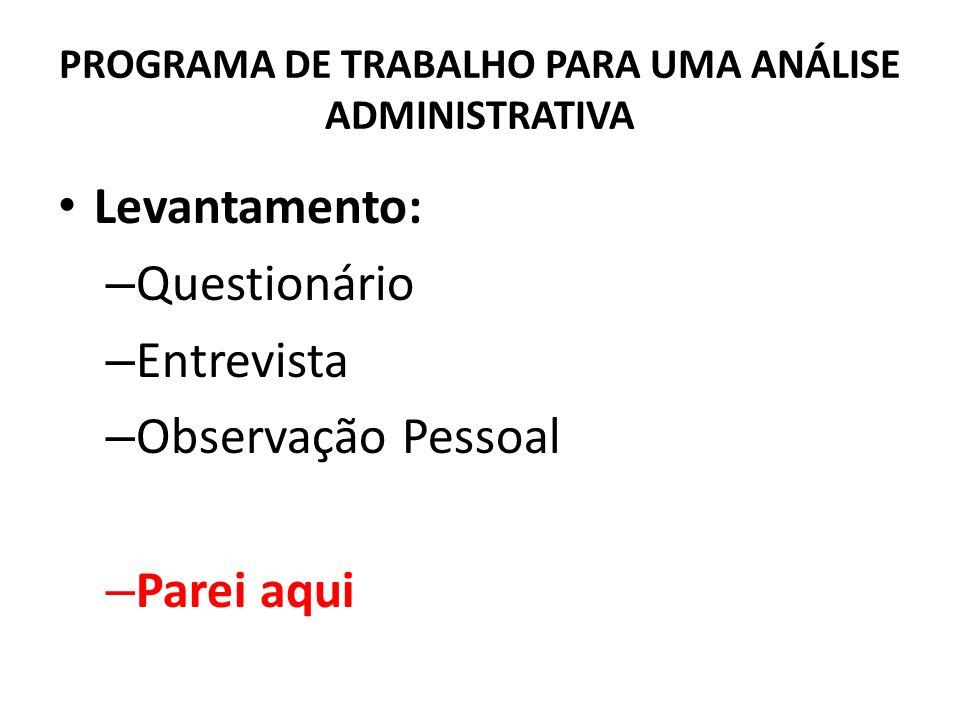 PROGRAMA DE TRABALHO PARA UMA ANÁLISE ADMINISTRATIVA