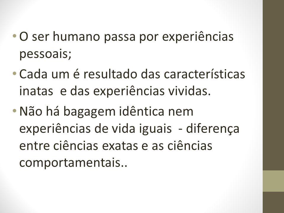 O ser humano passa por experiências pessoais;