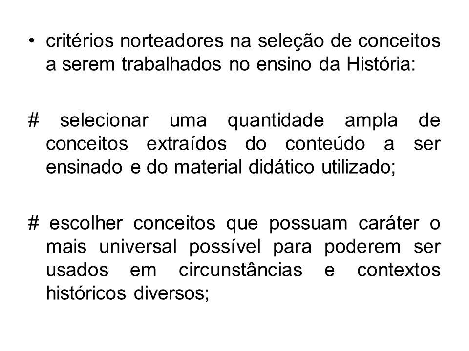 critérios norteadores na seleção de conceitos a serem trabalhados no ensino da História: