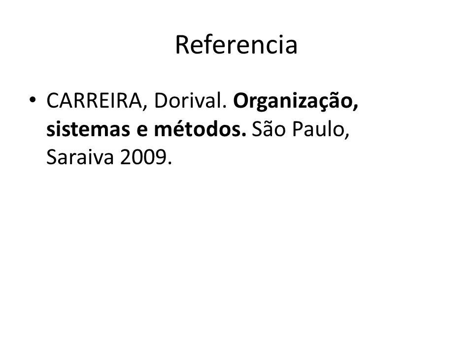 Referencia CARREIRA, Dorival. Organização, sistemas e métodos. São Paulo, Saraiva 2009.