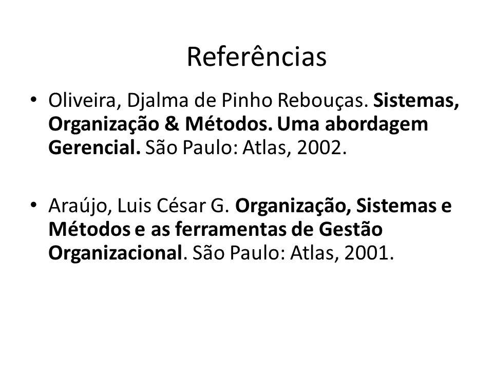 Referências Oliveira, Djalma de Pinho Rebouças. Sistemas, Organização & Métodos. Uma abordagem Gerencial. São Paulo: Atlas, 2002.