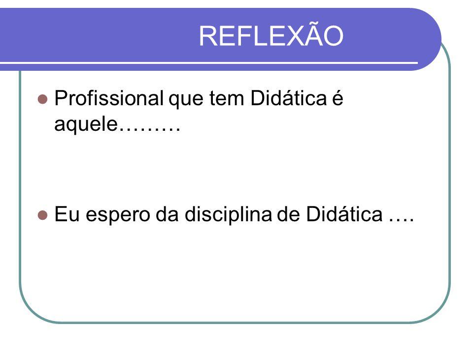REFLEXÃO Profissional que tem Didática é aquele………