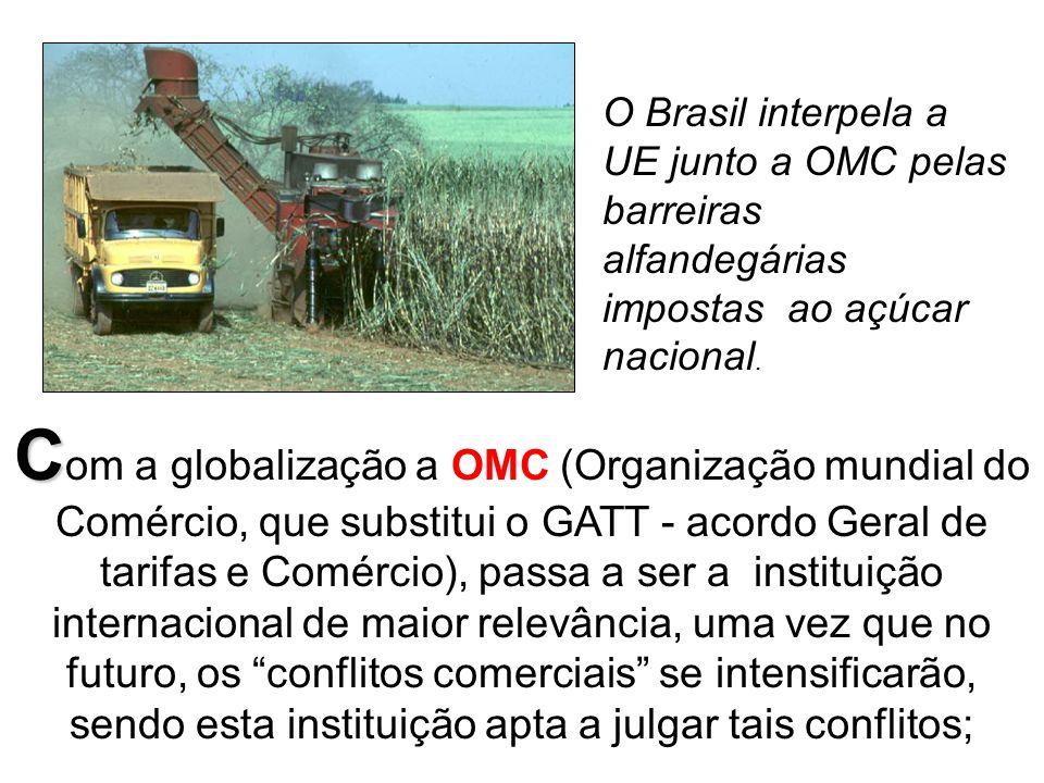 O Brasil interpela a UE junto a OMC pelas barreiras alfandegárias impostas ao açúcar nacional.