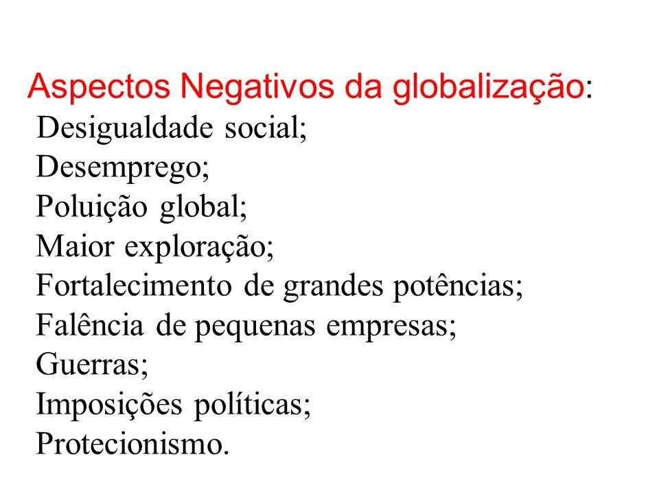 Aspectos Negativos da globalização: Desigualdade social; Desemprego; Poluição global; Maior exploração; Fortalecimento de grandes potências; Falência de pequenas empresas; Guerras; Imposições políticas; Protecionismo.