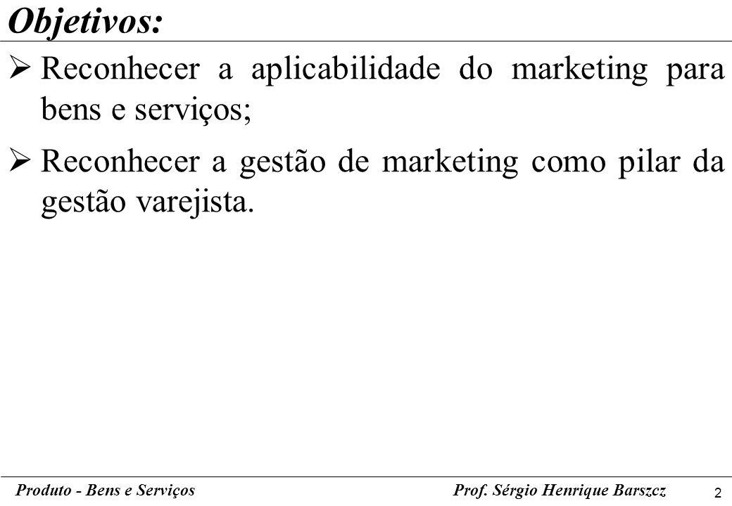 Objetivos: Reconhecer a aplicabilidade do marketing para bens e serviços; Reconhecer a gestão de marketing como pilar da gestão varejista.