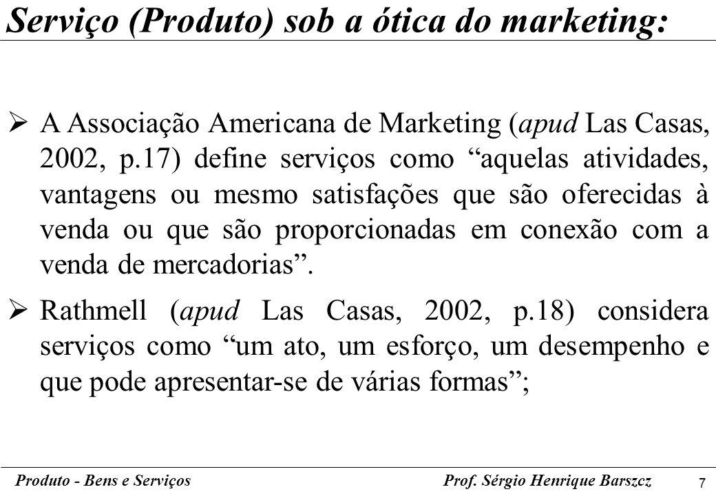 Serviço (Produto) sob a ótica do marketing: