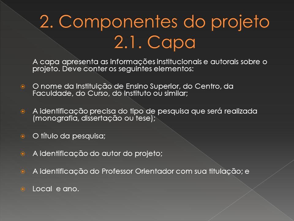 2. Componentes do projeto 2.1. Capa