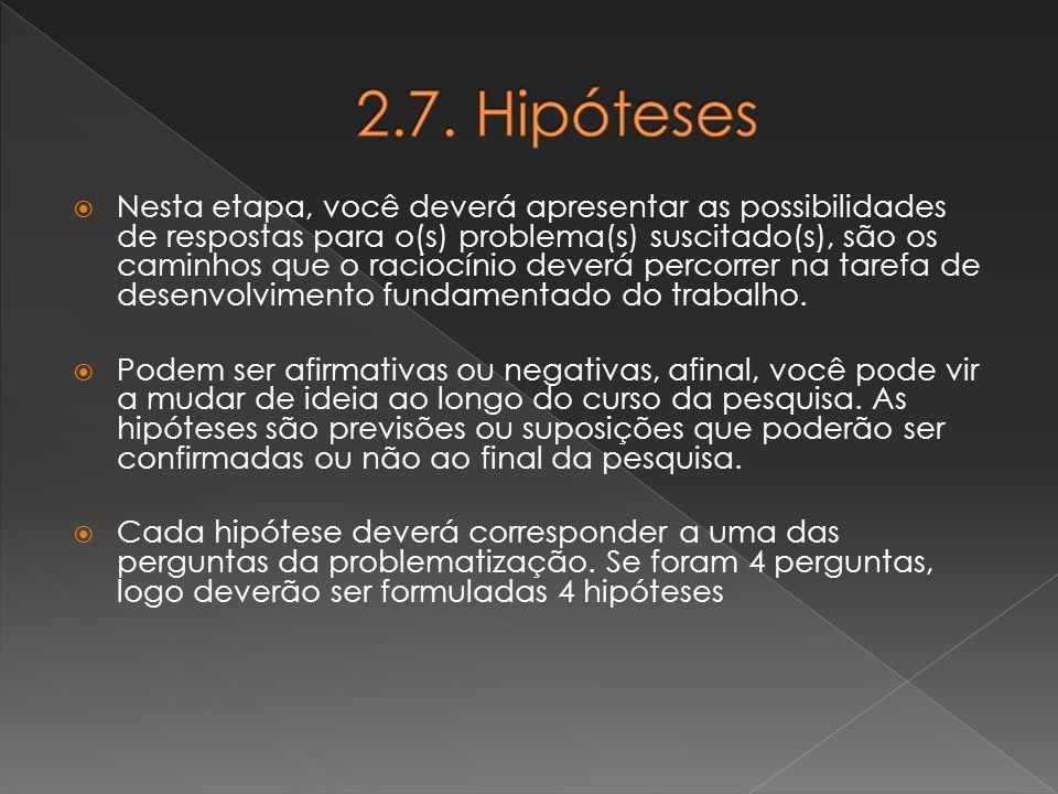 2.7. Hipóteses