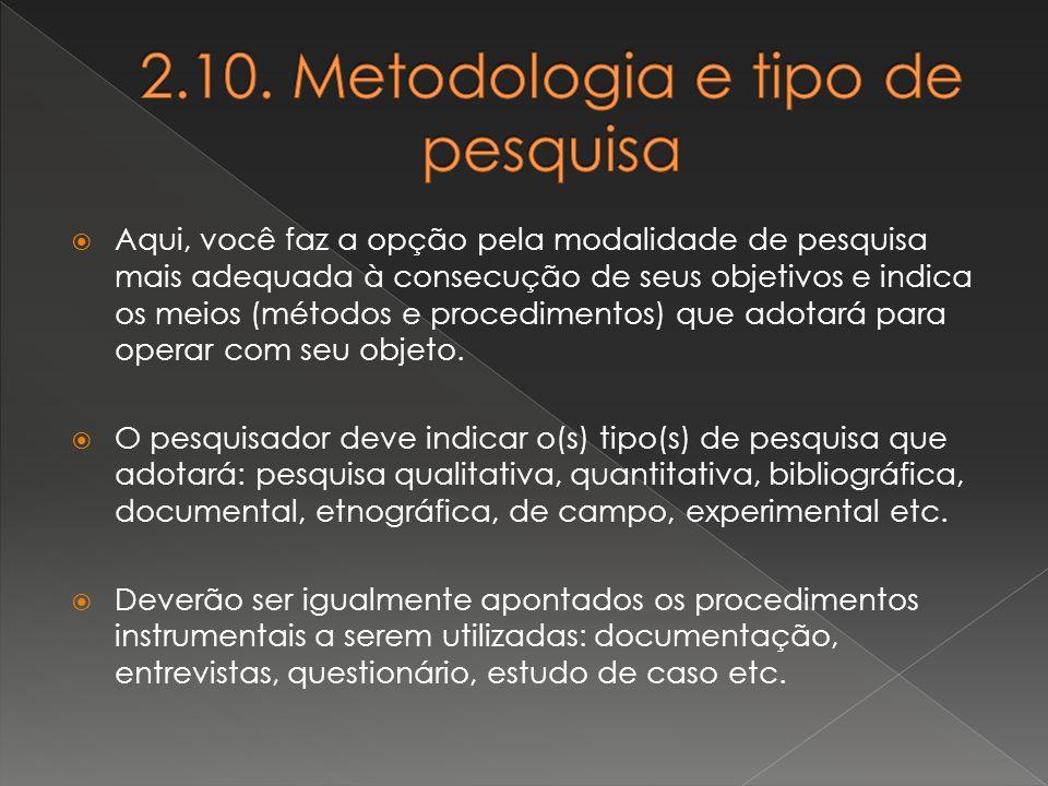 2.10. Metodologia e tipo de pesquisa