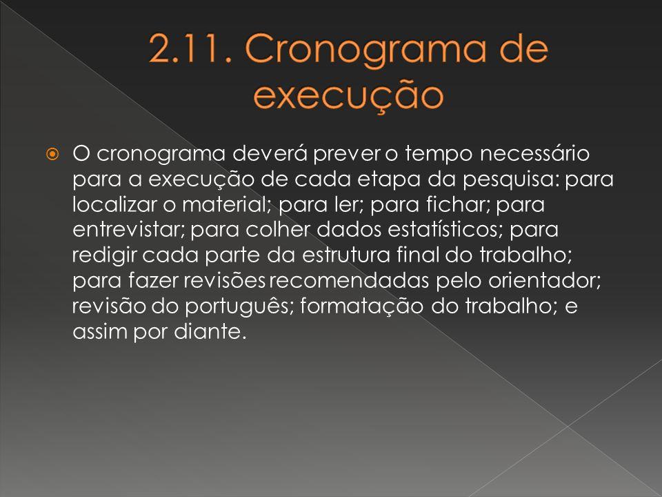 2.11. Cronograma de execução