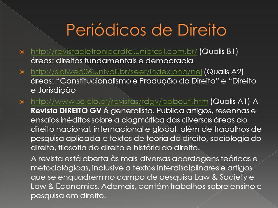 Periódicos de Direito http://revistaeletronicardfd.unibrasil.com.br/ (Qualis B1) áreas: direitos fundamentais e democracia.