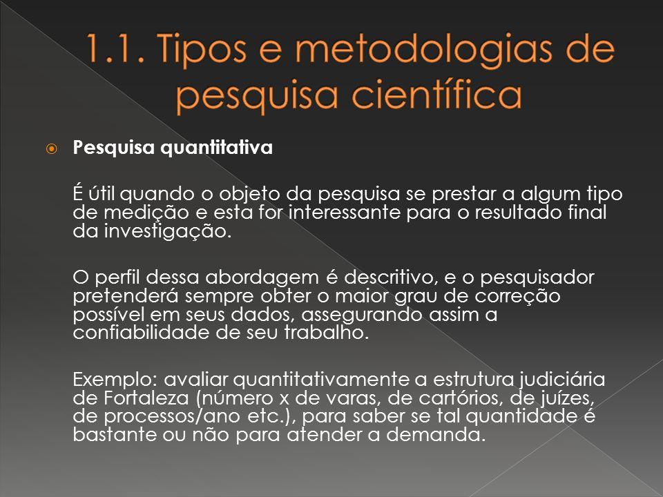 1.1. Tipos e metodologias de pesquisa científica