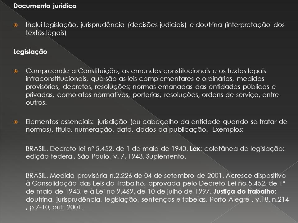 Documento jurídico Inclui legislação, jurisprudência (decisões judiciais) e doutrina (interpretação dos textos legais)