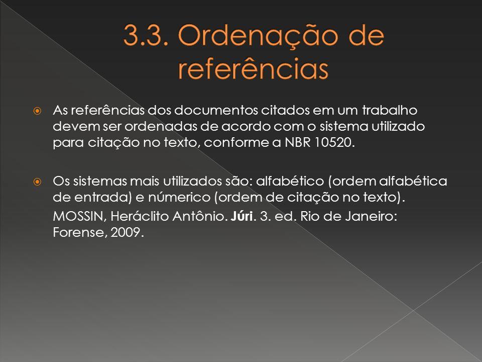 3.3. Ordenação de referências