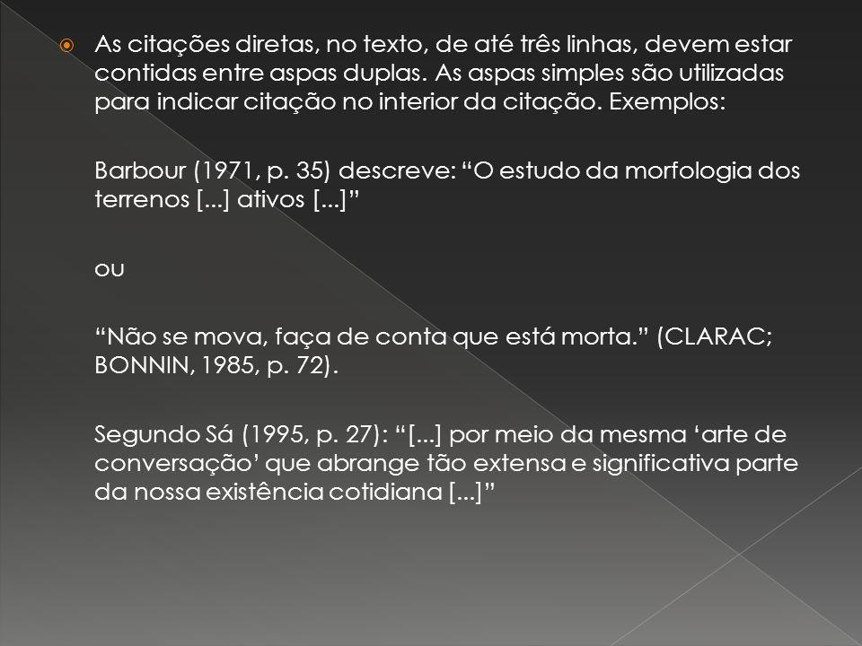 As citações diretas, no texto, de até três linhas, devem estar contidas entre aspas duplas. As aspas simples são utilizadas para indicar citação no interior da citação. Exemplos:
