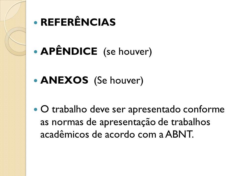 REFERÊNCIAS. APÊNDICE (se houver) ANEXOS (Se houver)