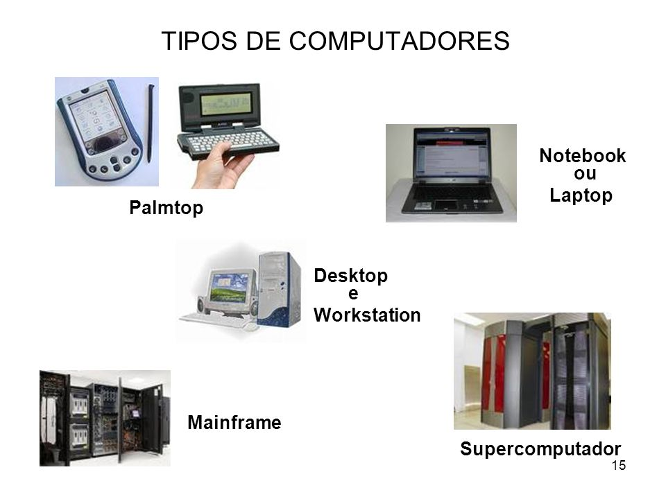 TIPOS DE COMPUTADORES Notebook ou Laptop Palmtop Desktop e Workstation