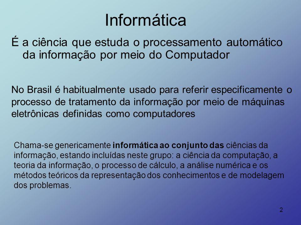 InformáticaÉ a ciência que estuda o processamento automático da informação por meio do Computador.