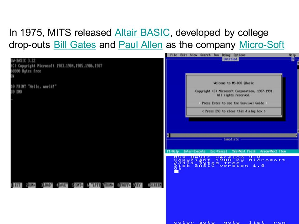 In 1975, MITS released Altair BASIC, developed by college drop-outs Bill Gates and Paul Allen as the company Micro-Soft