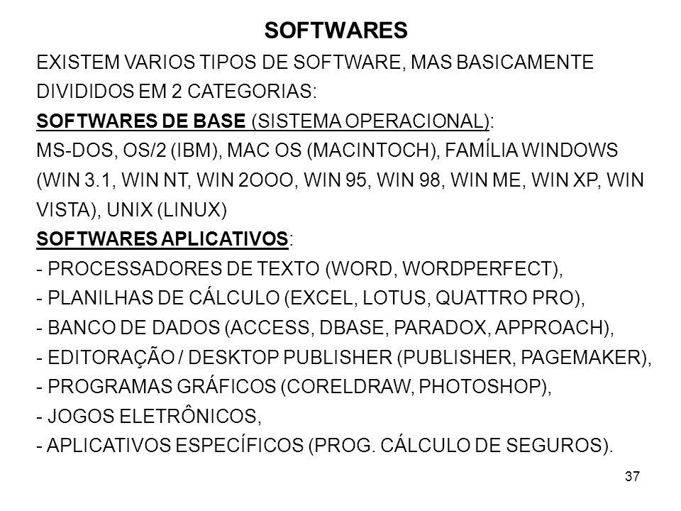 SOFTWARES EXISTEM VARIOS TIPOS DE SOFTWARE, MAS BASICAMENTE